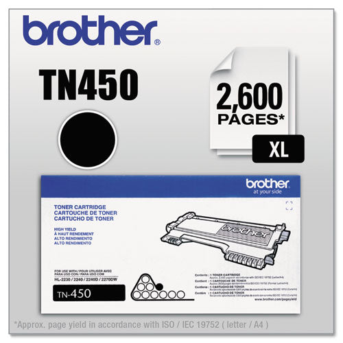 Brother TN450 High-Yield Toner, 2600 Page, Black