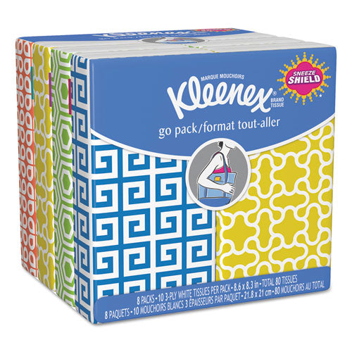 Facial Tissue Pocket Packs, 3-Ply, White, 10 - 8 Pouches