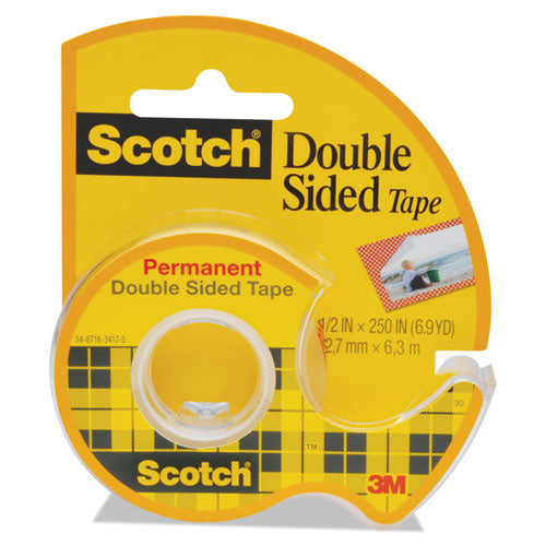 "666 Double-Sided Permanent Tape in Handheld Dispenser, 1/2"" x 250"""