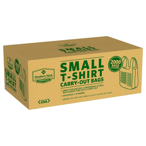 1/12 Barrel Small T-Shirt Carry-Out Bags Member's Mark, 1 - 1000 CT