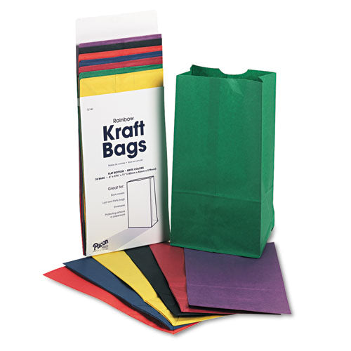 6 # Kraft Assorted Bright Rainbow Bags, 28 - 6 x 3 5/8 x 11