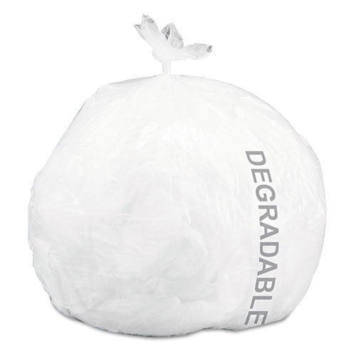 Eco-Degradable Plastic Trash Garbage Bag, 13gal, .70 mil, 24x30, White, 120/Box