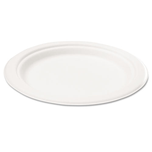Compostable Sugarcane Bagasse 6 in Plate, Round, White, 50/Pack