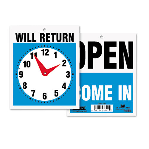 Double-Sided Open/Will Return Sign w/Clock Hands, Plastic, 7 1/2 x 10