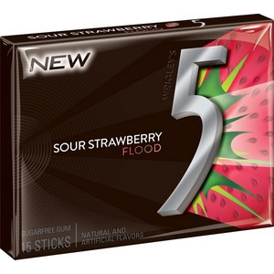 5 Gum Sour Strawberry Flood, 10 CT - 15 PK