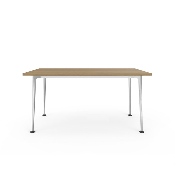 Openo Desk - Zen Teak Top with Polished Jazz Leg