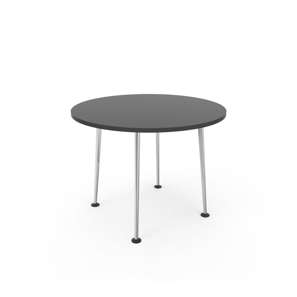 Openo Round Table - Graphite Top with Polished Jazz Leg