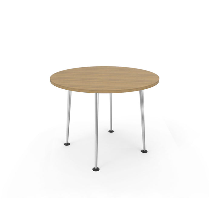 Openo Round Table - Zen Teak Top with Polished Jazz Leg