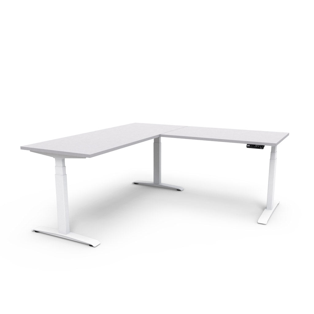 Adjust L-Shape Height-Adjustable Table - Light Grey