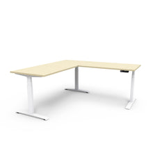 Adjust L-Shape Height-Adjustable Table - Rochelle White