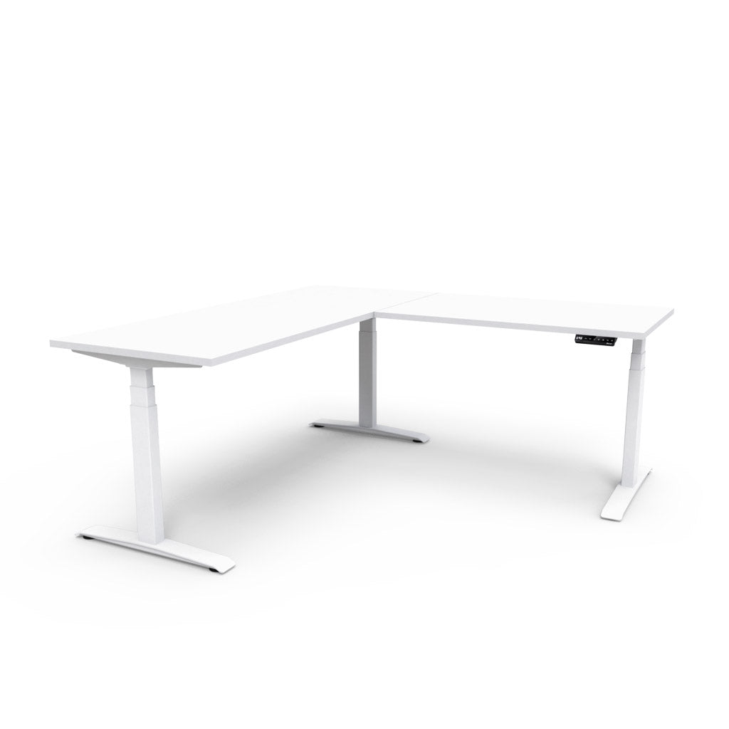 Adjust L-Shape Height-Adjustable Table - White