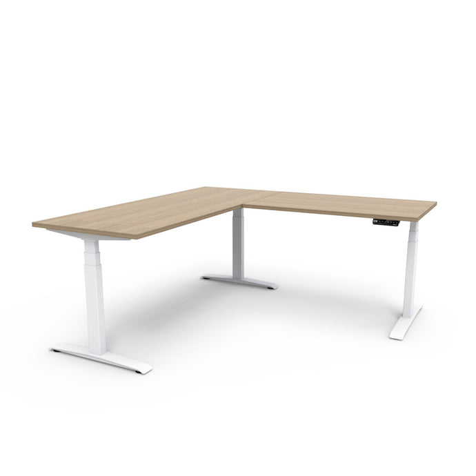 Adjust L-Shape Height-Adjustable Table - Zen Teak