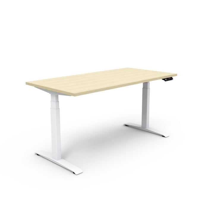 Adjust Rectangular Height-Adjustable Table - Rochelle White