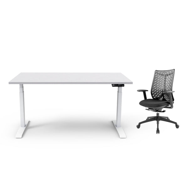 Adjust Rectangular Height-Adjustable Table (Light Grey) with Chair Package