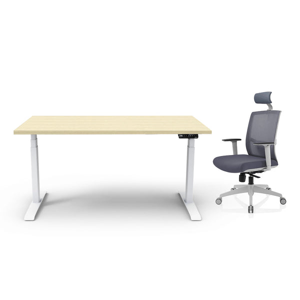 Adjust Rectangular Height-Adjustable Table (Rochelle White) with Chair Package