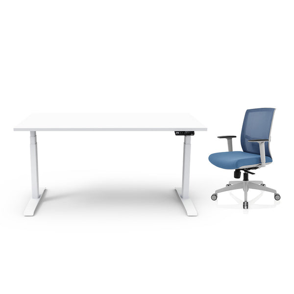 Adjust Rectangular Height-Adjustable Table (White) with Chair Package