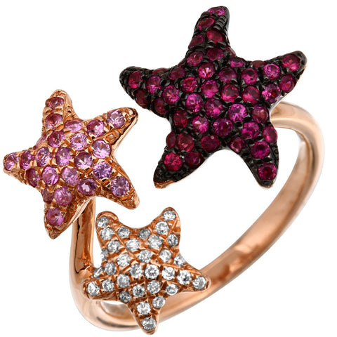 Trio Starfish Ring