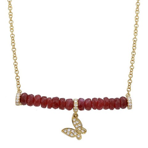 Ruby Butterfly Bar Necklace