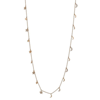 34 in. Falling Moons & Stars Necklace