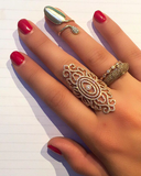 Flower Drop Golden Nail Ring