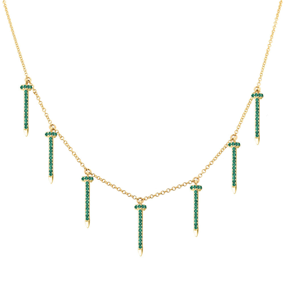 cut emerald tw in kt with gold halo necklace diamond white