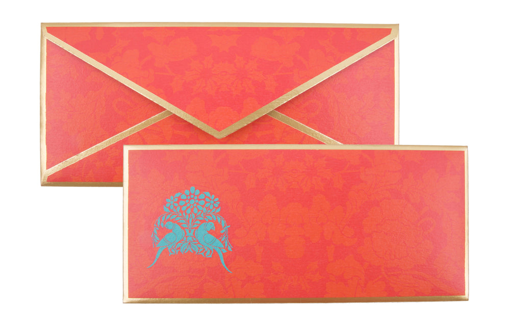 Parakeet Motif Blue Gift Envelope Customised