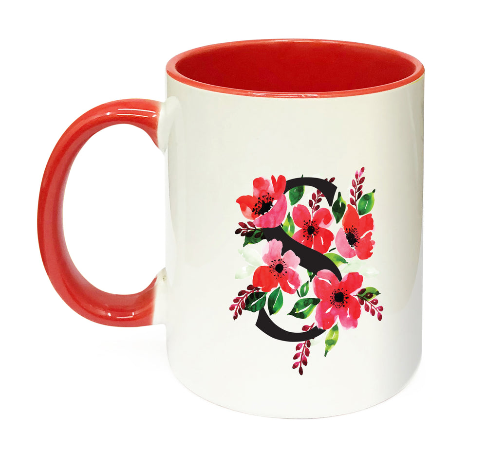 Red Floral Alphabet & Name Mug