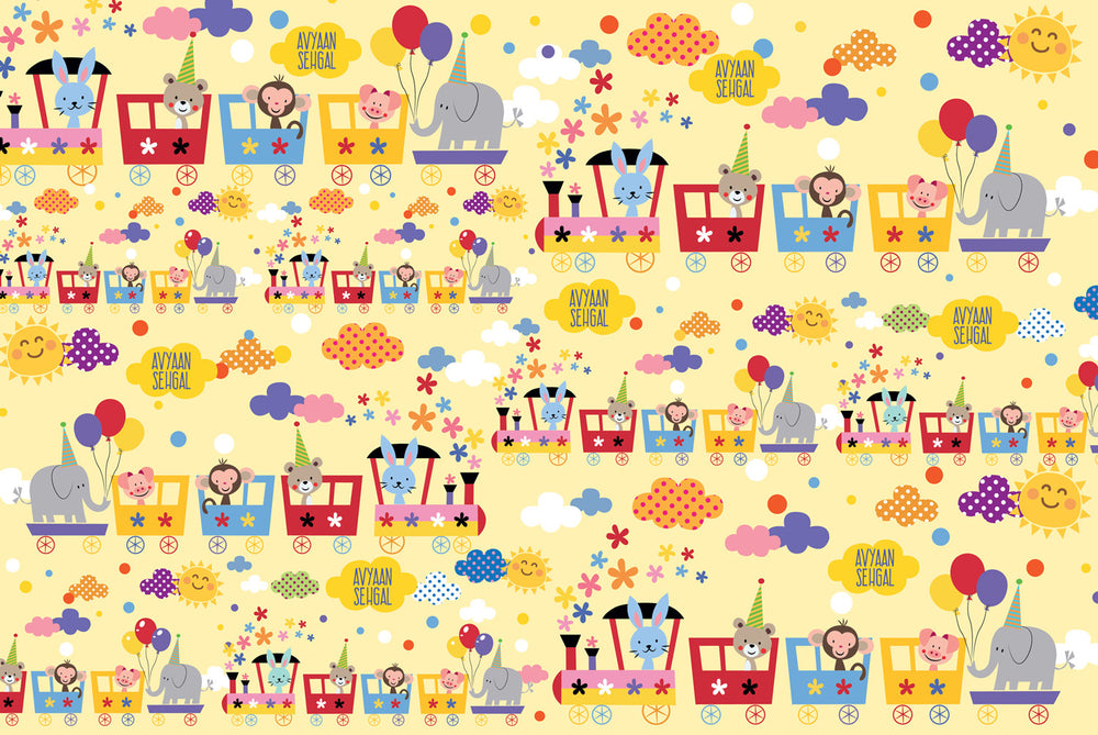 Animal Train Customized 100 Wrapping Sheets