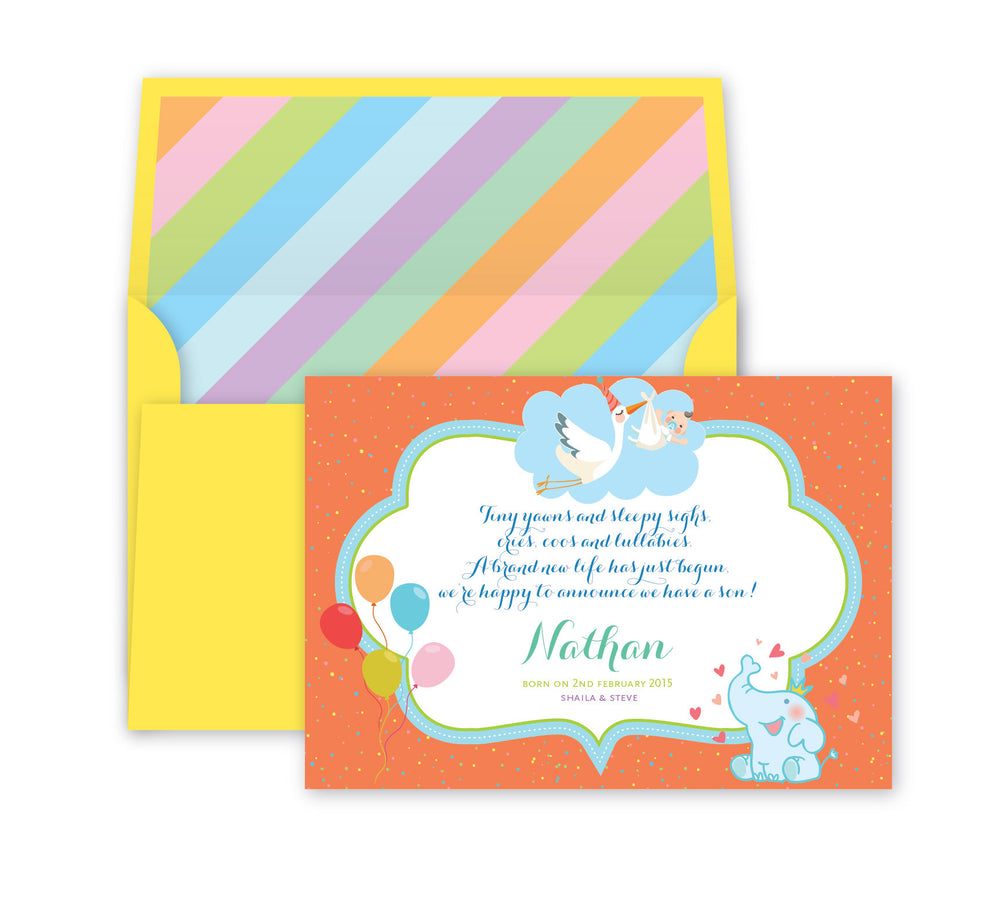 Rainbow Baby Announcement, Print Card