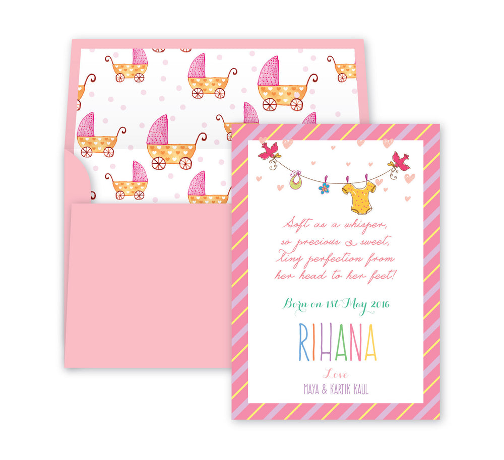 Tiny Perfection Baby Announcement, Print card