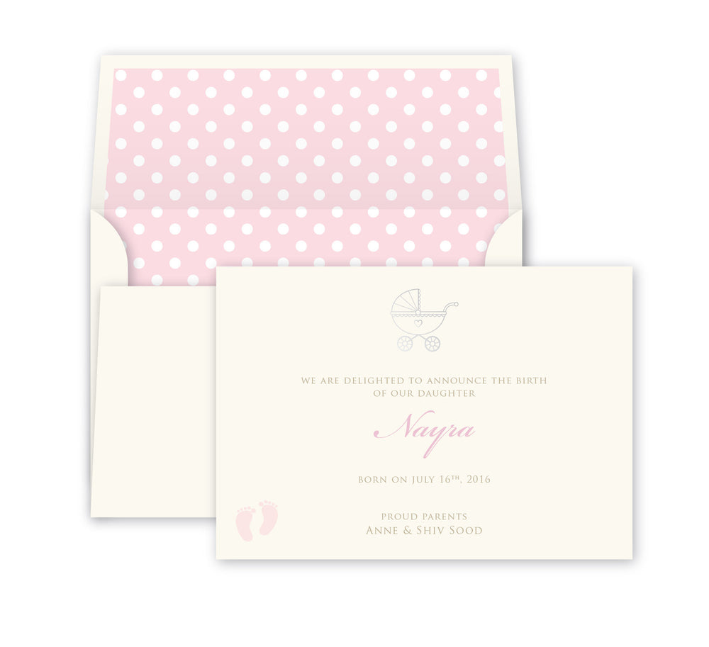 Polka Pink Baby Announcement, Print card