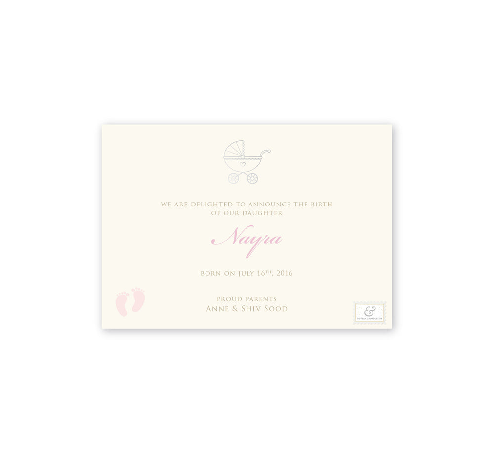 Polka Pink Baby Announcement E-card