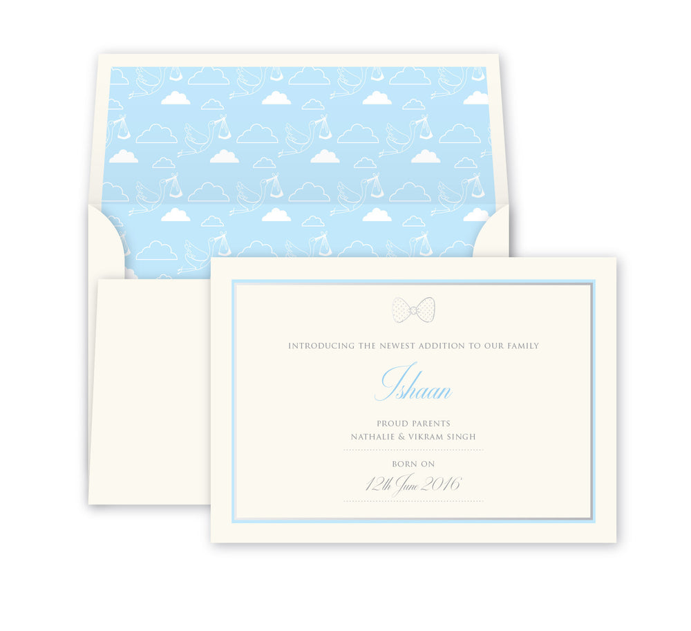 Powder Blue Baby Announcement, Print card