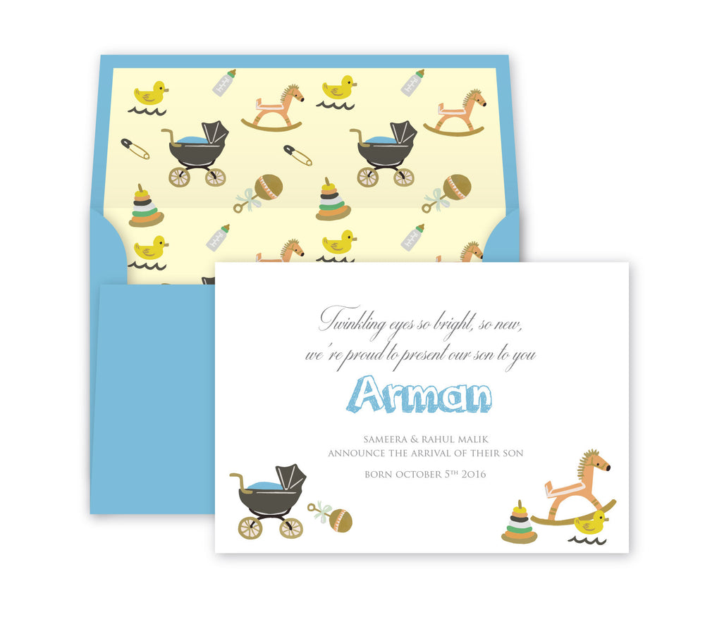 Bundle of joy, Baby announcement print card