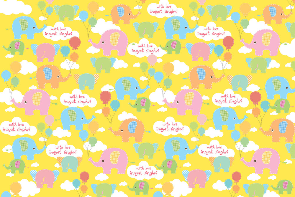 Baby Elephant Customized 100 Wrapping Sheets