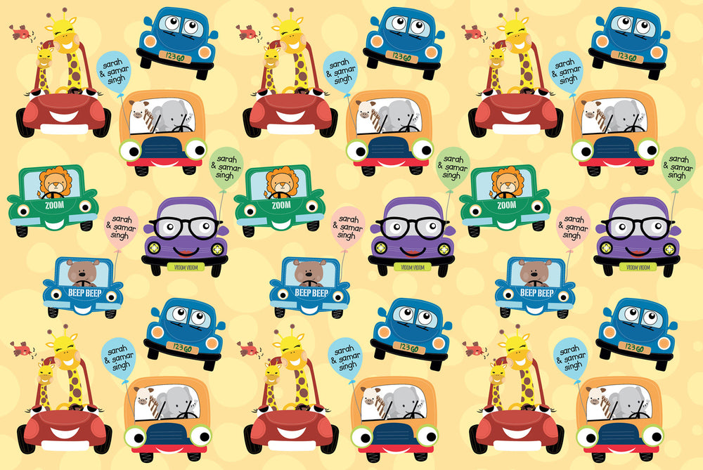 Cute Cars Customized 100 Wrapping Sheets