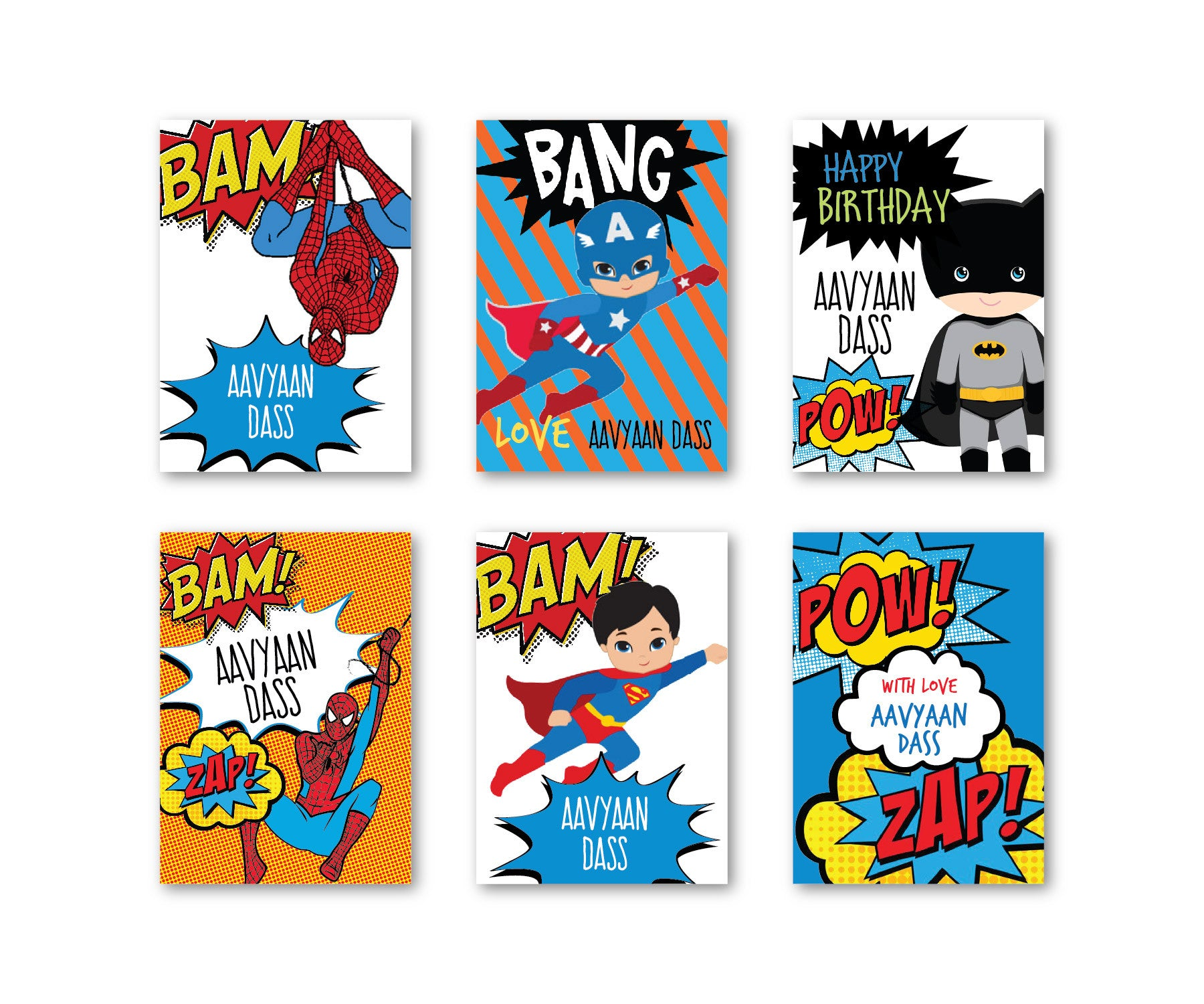 Superhero Party Set of 90 Gift tags