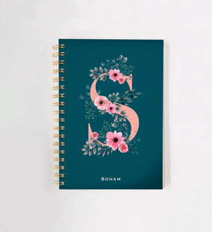 Floral Sea Green Personalised Doodle Book