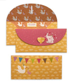 Stork with baby orange 10 Gift Envelopes