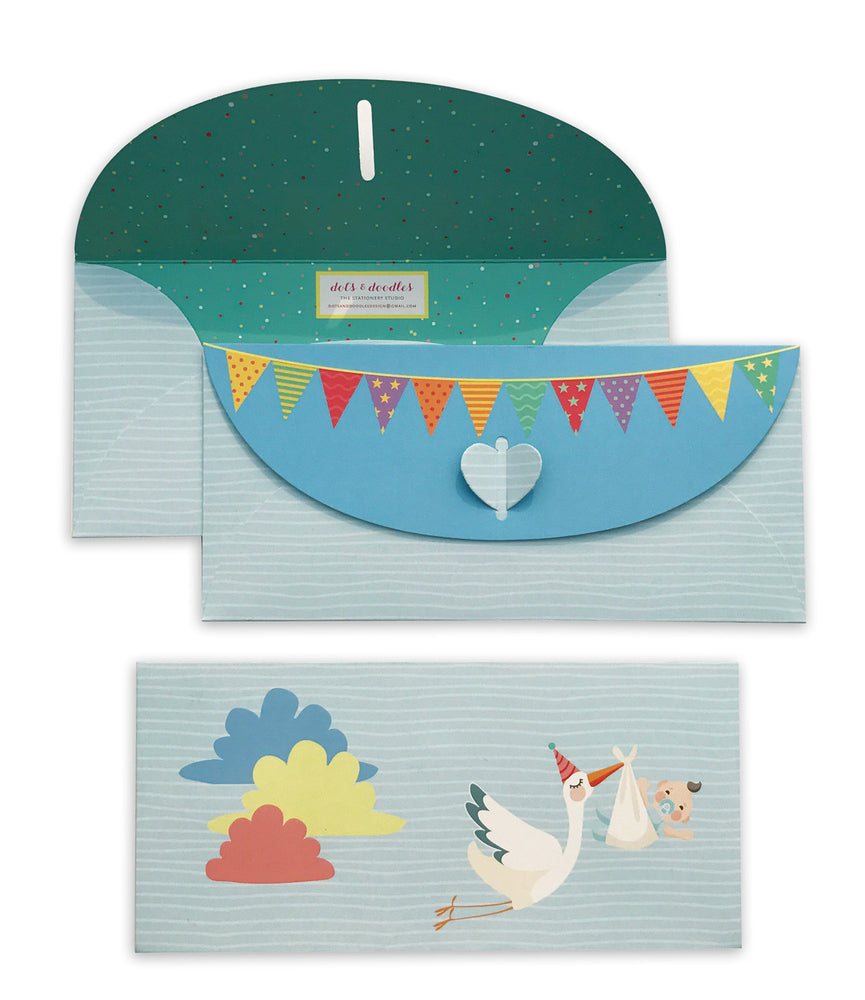 Stork with baby blue 10 Gift Envelopes