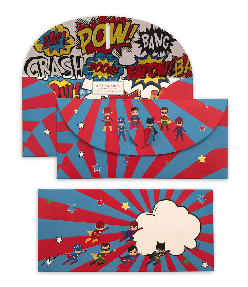 Superhero 10 Gift Envelopes