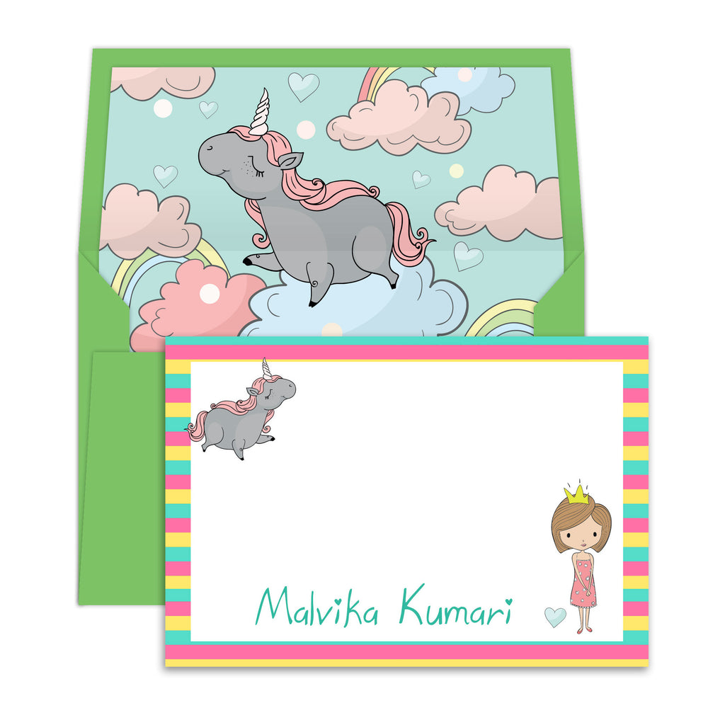 Unicorn & Princess Notecards