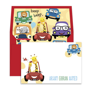 Cute Animals in the Car Notecards