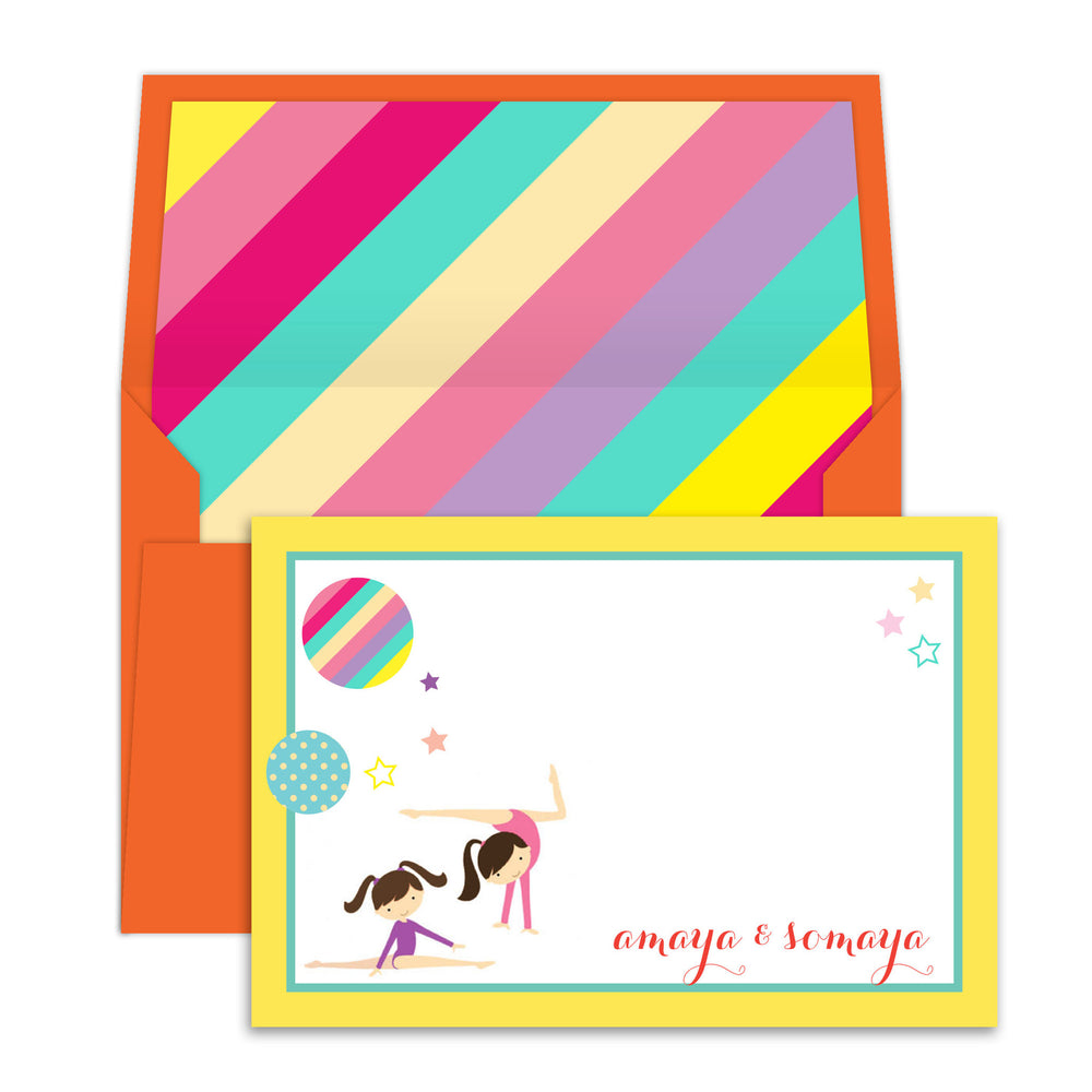 Gymnast Sisters Notecards