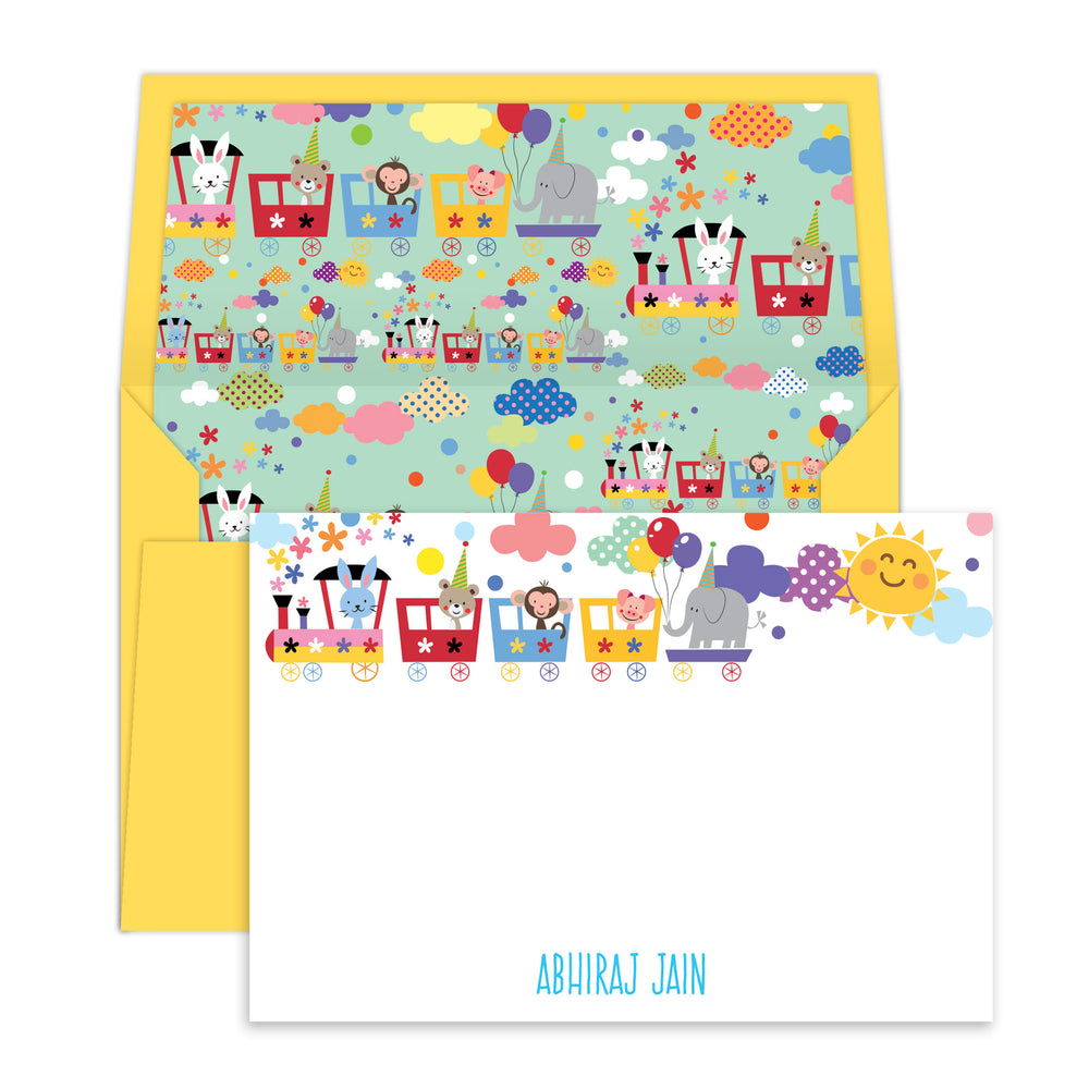 Animals on a Train Notecards