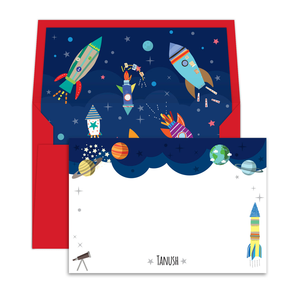 Outer Space Personalised Notecards with Envelopes