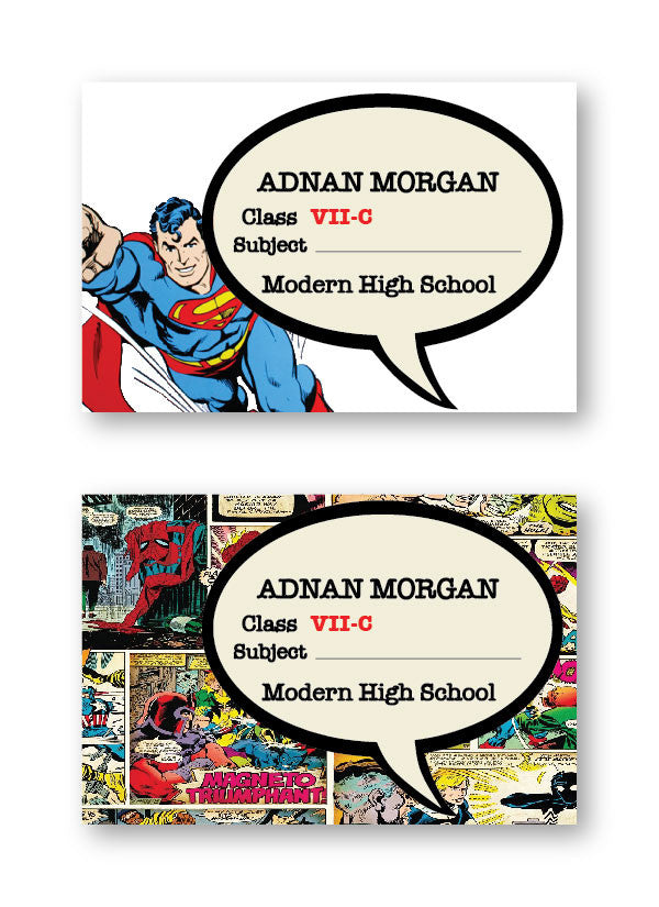 Comic School Labels