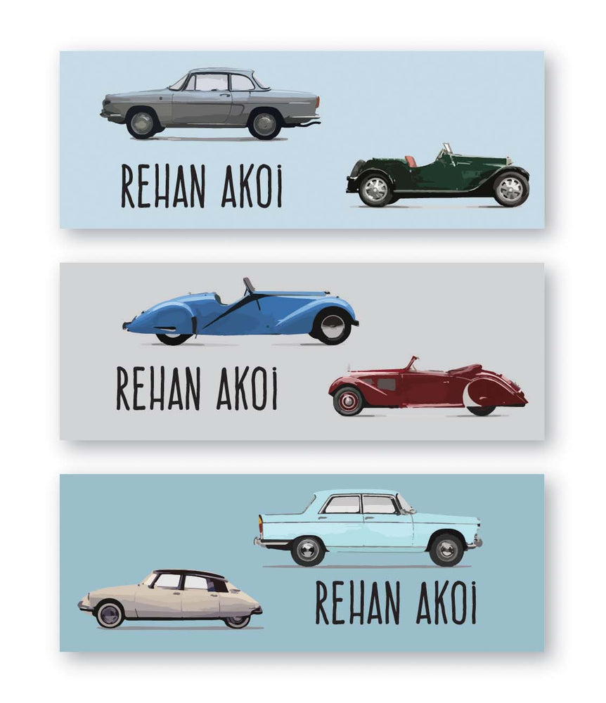 Vintage Car Book Labels