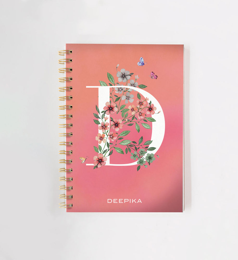 Floral Peach Personalised Doodle Book