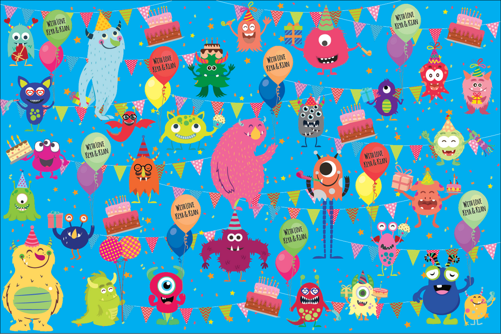 Friendly Monster Customized 100 Wrapping Sheets